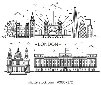 Historical and modern symbols of London and British culture.The set of buildings