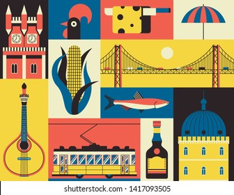 Historical symbols of Lisbon, Portugal. Vector icon set in flat style. Portuguese landmark. Guitar, corn, fish, castle, yellow tram, rooster, cheese, beach, liquor, bridge.
