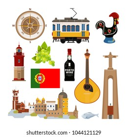 Historical symbols of Portugal Lissabon. Vector icon set in flat style. Portuguese landmark, lighthouse and musical instrument, transport tram and architecture illustration