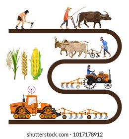 Historical timeline - farm tools and machinery. Collection of vector illustrations for infographics