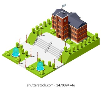 Historical university or school building surrounded by a garden with fountains and wide staircase isometric vector illustration.