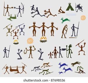 History ancient human cave logo art painting old creativity
