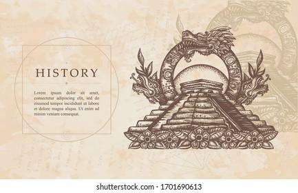 History. Ancient Maya Civilization. Kukulkan. Feathered Serpent and pyramids. Quetzalcoatl. Mesoamerican mythology. Renaissance background. Medieval manuscript, engraving art