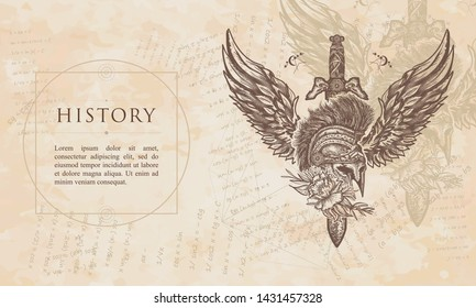 History. Ancient soldier, spartan warrior. Swords, rose and angel wings. Symbol of bravery, fight, hero. Renaissance background. Medieval manuscript, engraving art
