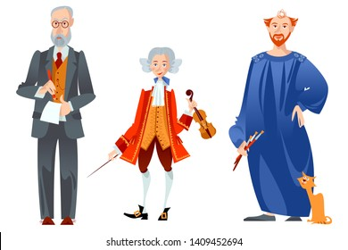 History of Austria. Famous people. Sigmund Freud, Wolfgang Amadeus Mozart, Gustav Klimt. Vector illustration.