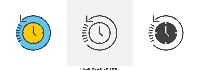 History, clock with arrow around icon. Line, glyph and filled outline colorful version, time back outline and filled vector sign. Symbol, logo illustration. Different style icons set. Vector graphics