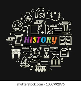 history colorful gradient with line icons set, vector editable stroke