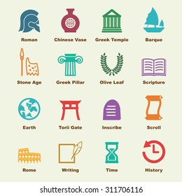 history elements, vector infographic icons