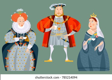 History of England. British historical figures drinking tea. Queen Elizabeth I, King Henry VIII, Queen Victoria. Vector illustration.