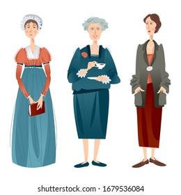 History of England. Famous English writers. Jane Austen, Agatha Christie, Virginia Woolf. Vector illustration.