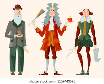 History of England. Famous people. William Shakespeare, Isaac Newton, Charles Darwin. Vector illustration.