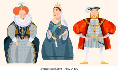 History of England. Queen Elizabeth I, King Henry VIII, Queen Victoria. Vector illustration.