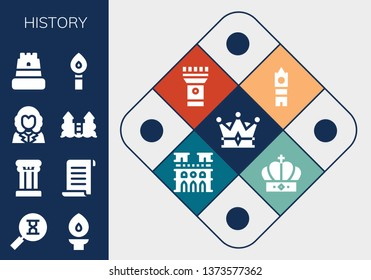 history icon set. 13 filled history icons.  Simple modern icons about  - Crown, Sandclock, Torch, Column, Papyrus, George washington, Castle, Big ben, Notre dame