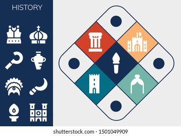 history icon set. 13 filled history icons.  Collection Of - Torch, Notre dame, Headdress, Sickle, Amphora, Armour, Crown, Castle, Column, Tower, Arch