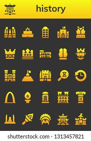 history icon set. 26 filled history icons.  Collection Of - Democracy monument, Pagoda, Castle, Phone booth, Armour, Crown, Colosseum, King, Notre dame, Pyramid, Medieval, Sandclock
