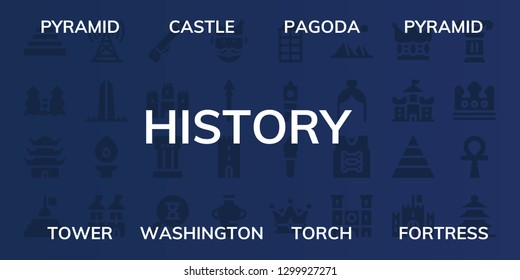 history icon set. 32 filled history icons. on blue background style Simple modern icons about  - Pyramid, Castle, Pagoda, Tower, Washington, Torch, Fortress, Spear, Column, Sandclock