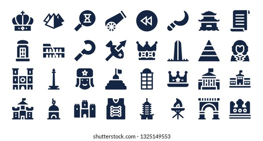 history icon set. 32 filled history icons. on blue background style Collection Of - Crown, Telephone booth, Notre dame, Castle, Pyramid, Colosseum, Monas, Tower, Sandclock, Sickle