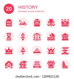 history icon set. Collection of 20 filled history icons included Warrior, Catapult, Mammoth, Crown, Sandclock, Torch, Parthenon, Headdress, Louvre, Katana, Arch, Castle, Forbidden city