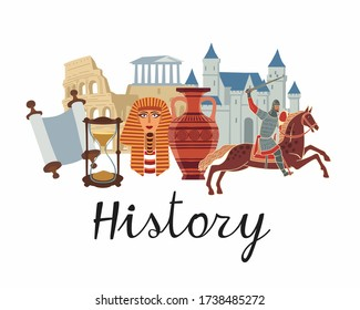 History icon. A set of subjects for designating school discipline