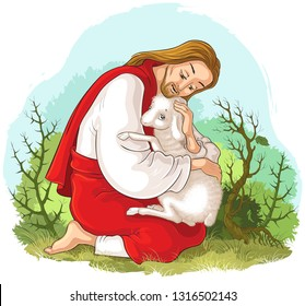 History of Jesus Christ. The Parable of the Lost Sheep. The Good Shepherd Rescuing a Lamb Caught in Thorns. Also available coloring book version