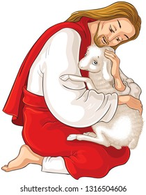 History of Jesus Christ. The Parable of the Lost Sheep. The Good Shepherd Rescuing a Lamb Caught in Thorns isolated on white.