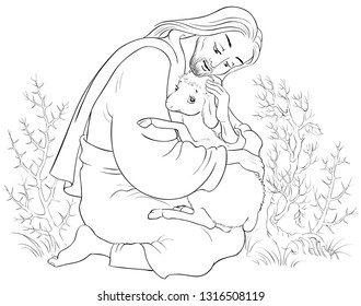 History of Jesus Christ. The Parable of the Lost Sheep. The Good Shepherd Rescuing a Lamb Caught in Thorns Coloring Page. Also available colored version.