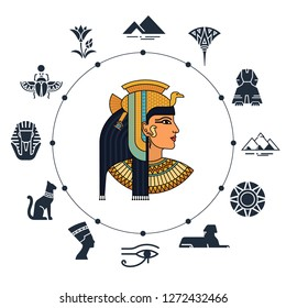 History landmarks of Egypt. Cultural objects and symbols of Egyptians. Egyptian landmark pyramid architecture, vector illustration, icon set.