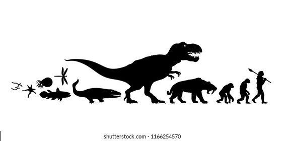 History of life on Earth. Timeline of evolution from prehistoric animals, dinosaur, saber toothed tiger, monkey to cave man. Human development. Silhouette isolated. Hand drawn vector illustration.