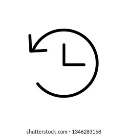 History linear icon, time clock sign inside circle arrow