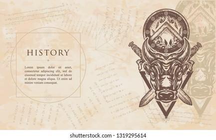 History. Minotaur, crossed swords and spartan shield. Renaissance background. Medieval manuscript, engraving art