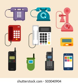 History of the phone design vector illustration flat design