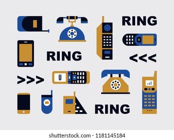 history of phone retro icon set. flat design style vector graphic illustration