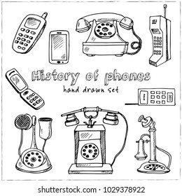 History of phones hand drawn doodle set. Sketches. Vector illustration for design and packages product. Symbol collection.