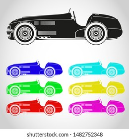 The history of a racing car. Retro car icon.