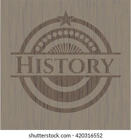 History retro style wooden emblem