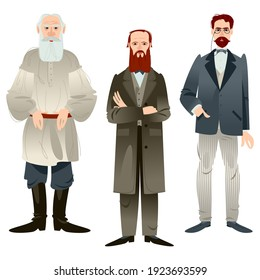 History of Russia. Famous Russian writers. Leo Tolstoy, Fyodor Dostoevsky, Anton Chekhov. Vector illustration
