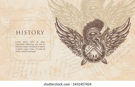 History. Spartan warrior. Swords and angel wings. Symbol of bravery, fight, hero. Renaissance background. Medieval manuscript, engraving art
