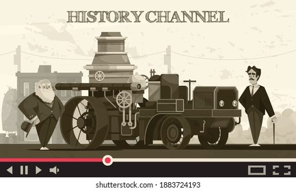 History transport composition with online video stream text and vintage cityscape with historical cars and people vector illustration