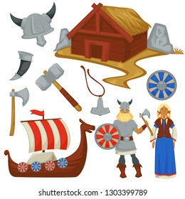 History viking culture weapon and ship Scandinavian man and woman vector helmet and dwelling or house horn and hammer ax and necklace shield and armory warrior and boat water transport clothing.
