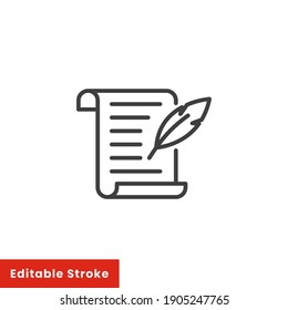 History, writing icon. Line style for web template and app. Simple thin line, poetry, book concept, education, vector illustration design on white background. Editable stroke EPS 10