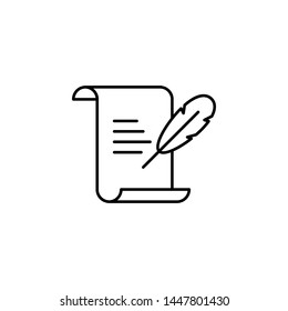 History, writing icon. Simple thin line, outline vector of History icons for UI and UX, website or mobile application