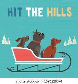 Hit hills fun flat vector poster. Comic dogs in sled cute cartoon. Winter park outdoor sledging activity, family fun invitation template background. Snow sledding party celebration design illustration
