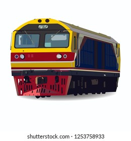 Hitachi Desel Electric Locomotive vector on White Background vector , Train in thailand