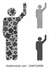 Hitchhike pose mosaic of abrupt elements in variable sizes and color hues, based on hitchhike pose icon. Vector abrupt elements are composed into mosaic.