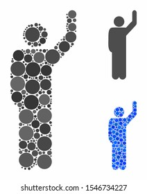 Hitchhike pose mosaic of circle elements in various sizes and color hues, based on hitchhike pose icon. Vector round elements are composed into blue mosaic.