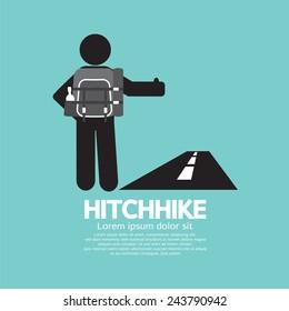 Hitchhike Tourist Symbol Graphic Vector Illustration