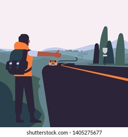 Hitchhiker character seen from behind standing on the road with a car approaching him. Travel and hitchhiking concept illustration with abstract landscape and nomad trying to get a lift