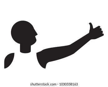 hitchhiker's thumb up gesture