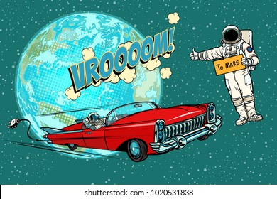 Hitchhiking astronaut waiting for the electric car in space. flight to Mars. Pop art retro comic book vector cartoon hand drawn illustration