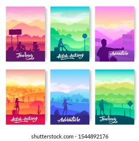 Hitchhiking to different places on the world concept. People are looking for a companion brochure cards set. Template of flyer, magazines, poster, books, banners. Travel on road cover layout page